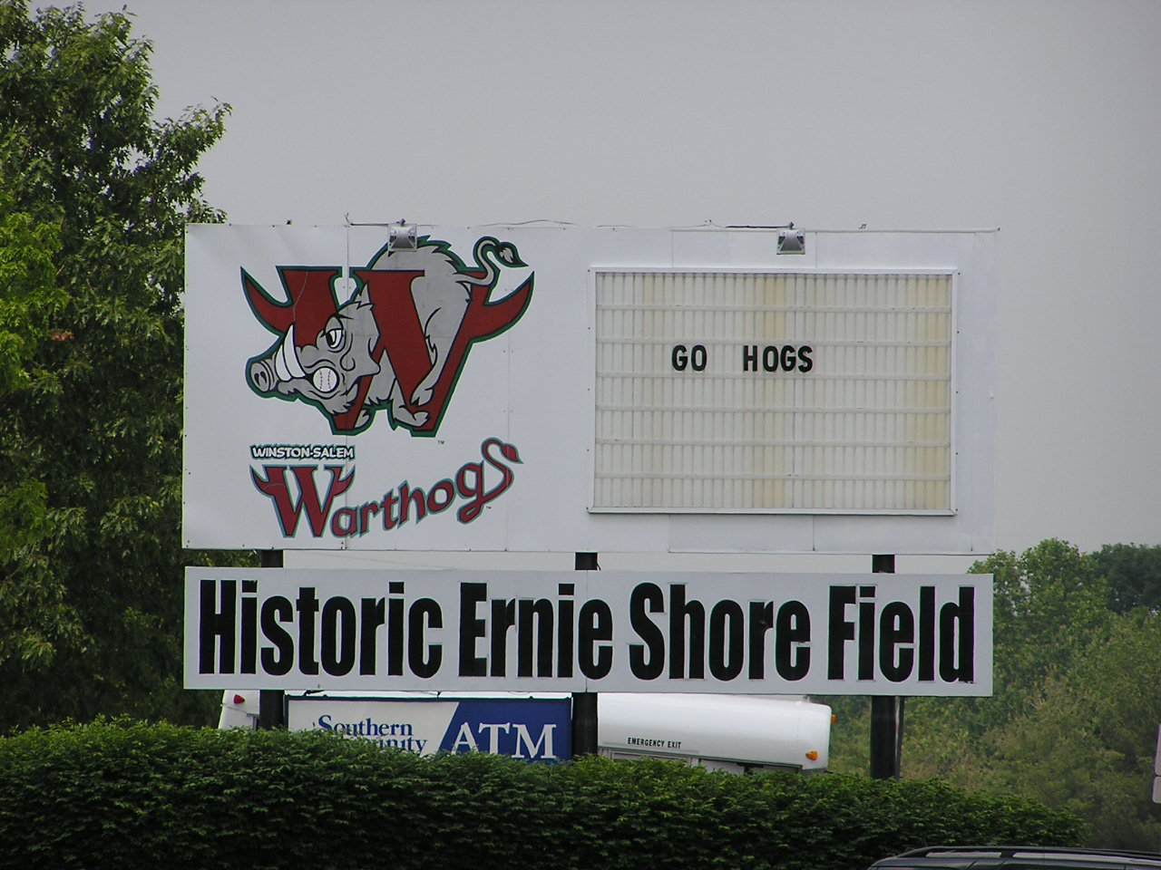 The sign outside Ernie Shore Field